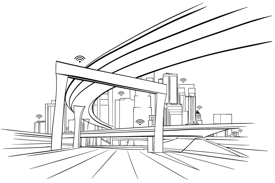 Edificis, viaductes i altres estructures connectades al núvol mitjançant Corrochip